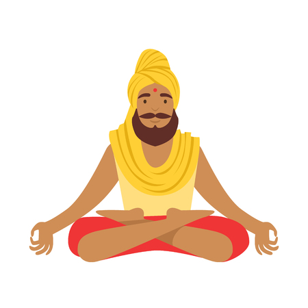 Indian yogi in padmasana lotus pose, wearing Indian clothes. Colorful character vector Illustration