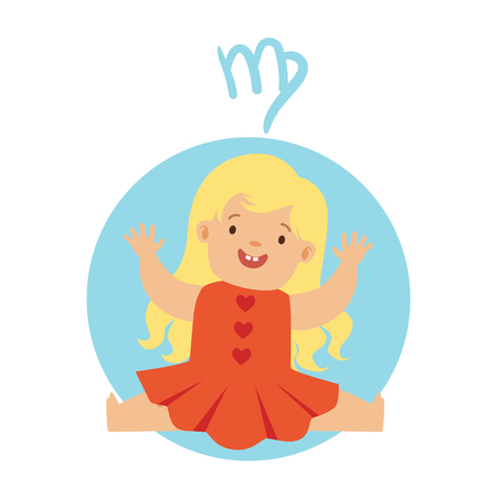 Cute little boy as Virgo astrological sign. Horoscope symbol colorful character vector Illustration Illustration