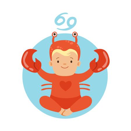 Cute little boy as Cancer astrological sign. Horoscope symbol symbol colorful character vector Illustration Illustration