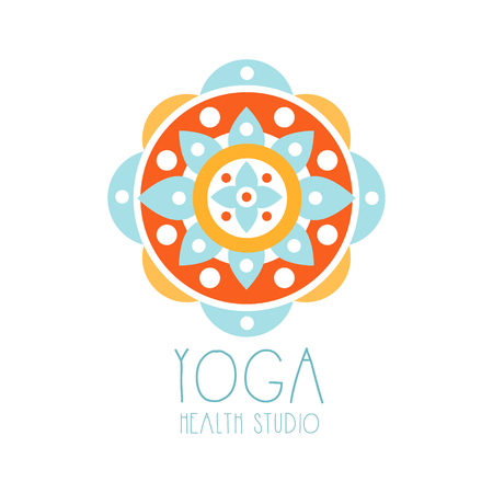 Yoga health studio symbol. Health and beauty care badge, spa, yoga center label Illustration