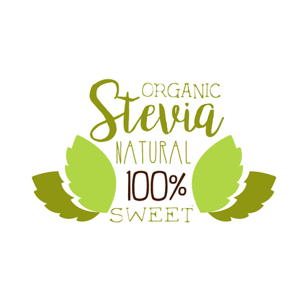 Organic stevia natural sweet symbol. Healthy product label vector Illustration