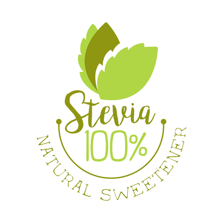 Stevia natural sweetener. Healthy product label vector Illustration