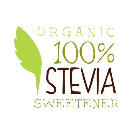 Edulcorante orgánico stevia. Producto saludable etiqueta vector illustration Foto de archivo - 77893270