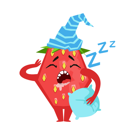 Sleeping funny strawberry. Cute cartoon emoji character vector Illustration