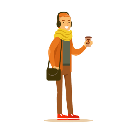 Young man in fashionable clothes and headphones standing and holding a paper cup of coffee in his hands. Student lifestyle colorful character vector Illustration Illustration