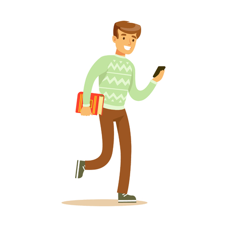 A young man walking and holding a book and a smartphone in his hands. Student lifestyle colorful character vector Illustration