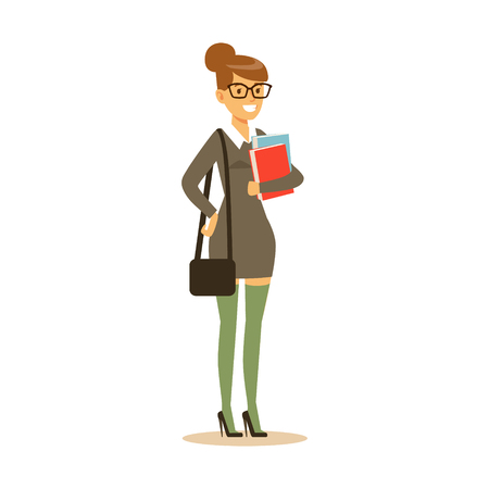 Smiling student in gray dress with books in her hands. Student lifestyle colorful character vector Illustration Illustration