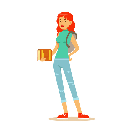 Smiling red haired student with a backpack standing and holding a book in her hamd. Student lifestyle colorful character vector Illustration
