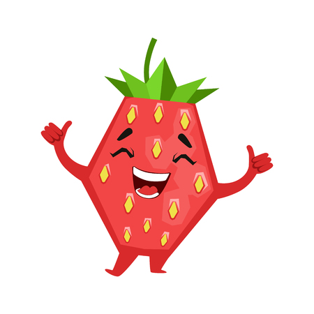 Laughing funny strawberry. Cute cartoon emoji character vector Illustration
