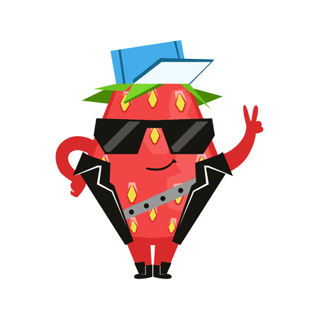 Funny strawberry in a black vest and glasses showing victory sign. Cute cartoon emoji character vector Illustration Illustration