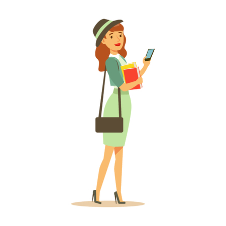 Beatuful student girl in fashionable clothes standing and holding smartphone and books in her hands. Student lifestyle colorful character vector Illustration Ilustração