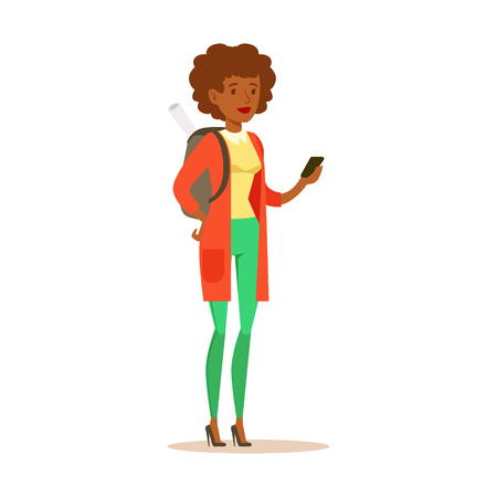 Student girl in casual clothes with backpack standing and holding smartphone in her hands. Student lifestyle colorful character vector Illustration