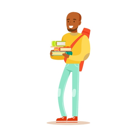 Young happy man in casual clothes with backpack standing and holding books in his hands. Student lifestyle colorful character vector Illustration