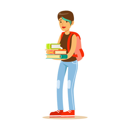 Girl with modern short haircut standing with books in her hands Student lifestyle colorful characte