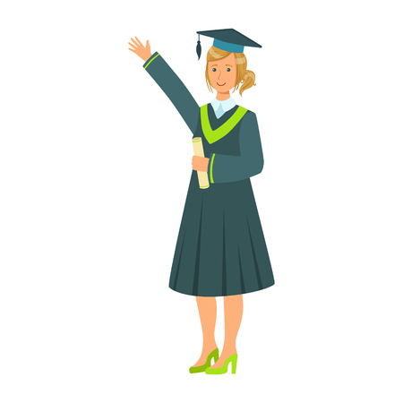 Graduate girl student in mantle holding diploma scroll and raising her hand up. Colorful cartoon illustration Illustration