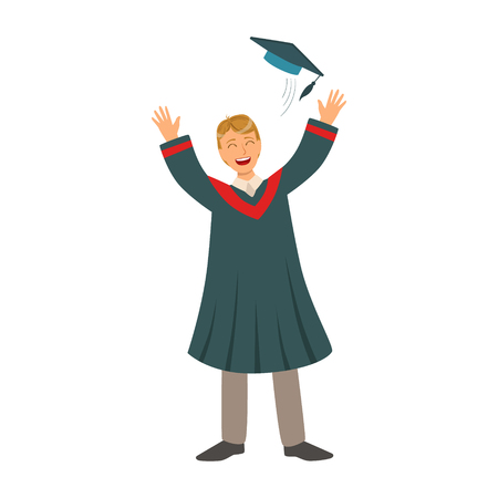 Young man tossing up his cap on Graduation Day. Colorful cartoon illustration