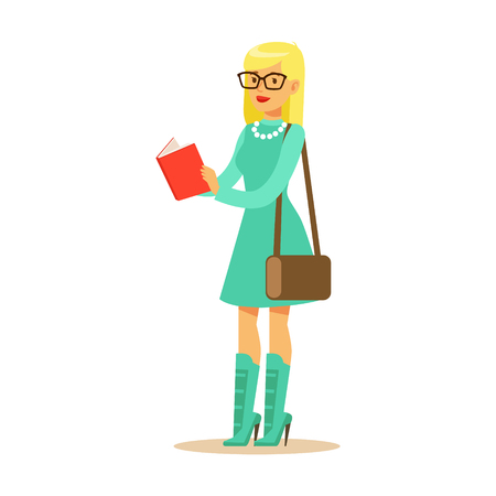 Fashionable student girl in a light blue dress and high heeled boots standing and reading a book. Student lifestyle colorful character vector Illustration