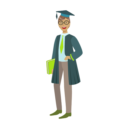 Cheerful graduate guy student in mantle with green book. Colorful cartoon illustration