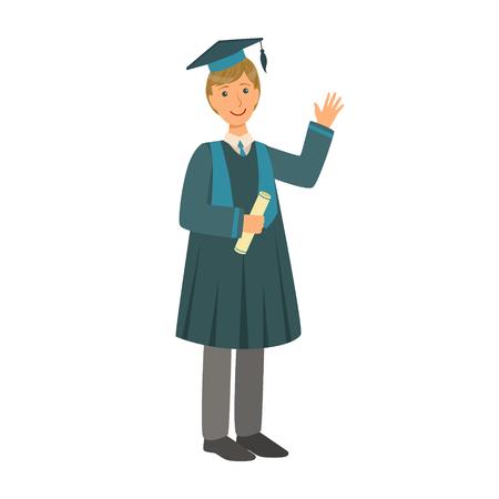 Graduate boy in the mantle holding graduation diploma scroll. Colorful cartoon illustration Illustration