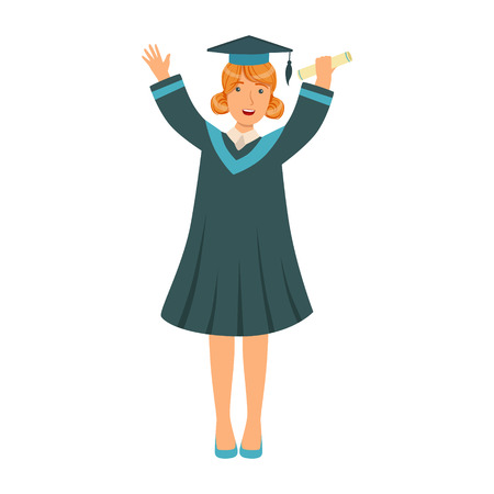 Graduating student girl in an academic gown raising her hands up. Colorful cartoon illustration