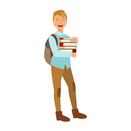 Smiling student with school backpack holding education books. Colorful cartoon illustration