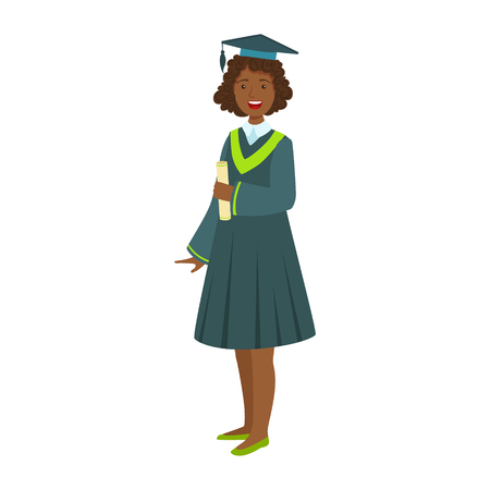 Young girl in student mantle holding diploma. Celebrating graduation ceremony concept.Colorful cartoon illustration isolated on a white background Illustration