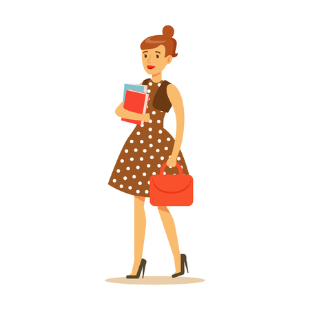 Young woman in brown dress standing and holding books and red bag in her hands. Student lifestyle colorful character vector Illustration isolated on a white background