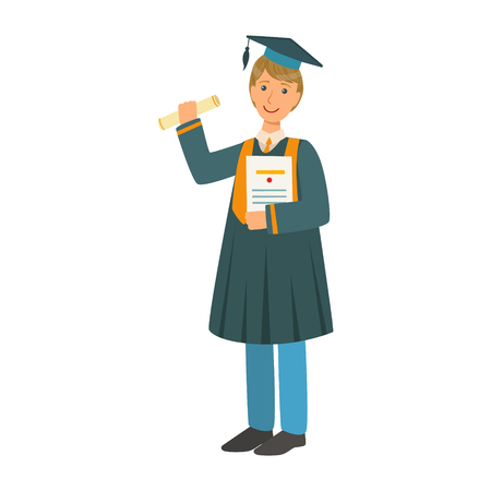 Boy in mantle gown and academic square cap holding diploma scroll. Celebrating graduation ceremony concept. Colorful cartoon illustration isolated on a white background Illustration