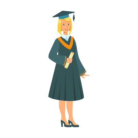 Graduate girl in the mantle holding graduation diploma scroll. Celebrating graduation ceremony concept. Colorful cartoon illustration isolated on a white background