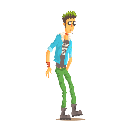 rockstar: Punk man with green hair dressed in punks style clothing, colorful character vector Illustration isolated on a white background