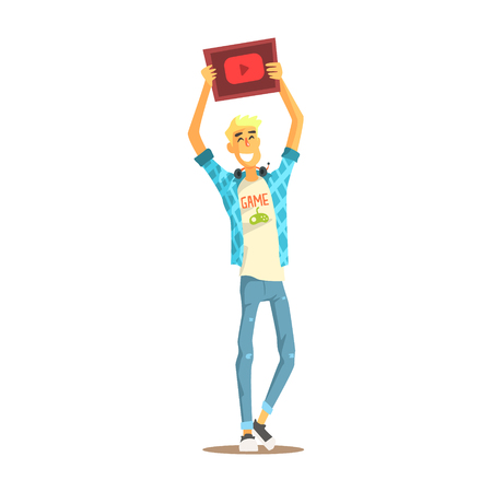 Cheerful young bloger man standing with a tablet in his raised hands, colorful character vector Illustration isolated on a white background Illustration