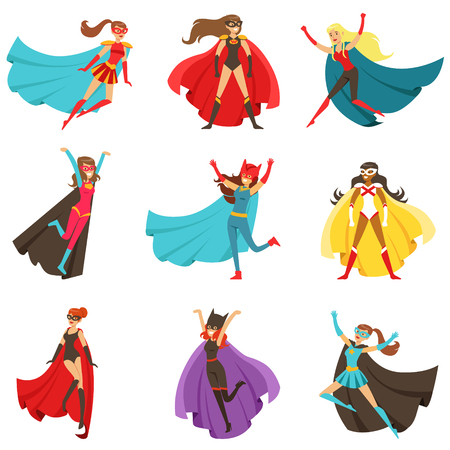 Female Superheroes In Classic Comics Costumes With Capes Set Of Smiling Flat Cartoon Characters With Super Powers Vettoriali