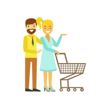 Feliz pareja joven con carrito de compras. Familia, compras, colorido, personaje, vector, ilustración
