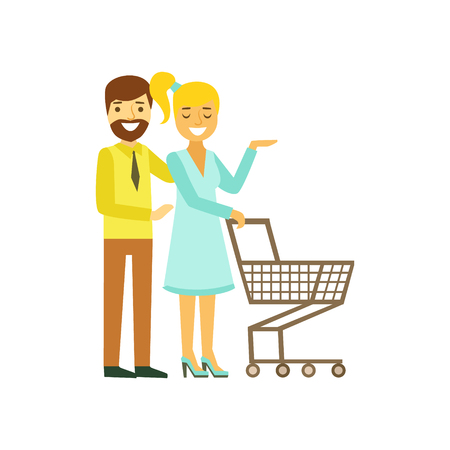 mujer en el supermercado: Happy young couple with shopping cart. Family shopping colorful character vector Illustration
