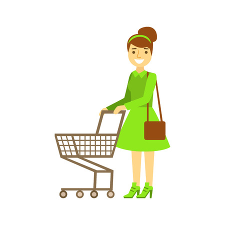 Smiling woman with an empty shopping cart, colorful character vector Illustration Illustration