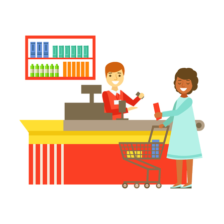 departmental: Cashier serving buyer at the cash register in supermarket. Shopping in grocery store, supermarket or retail shop. Colorful character vector Illustration