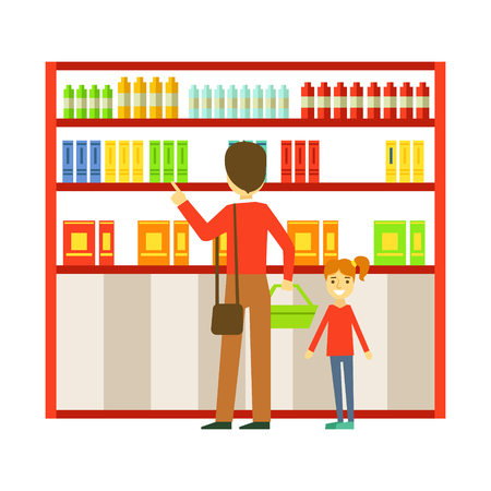 Father and his daughter shopping in the supermarket. Family shopping colorful character vector Illustration