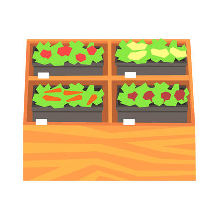 Supermarket shelves with ruits and vegetables. Fresh healthy vegetables in supermarket store colorful vector Illustration Illustration