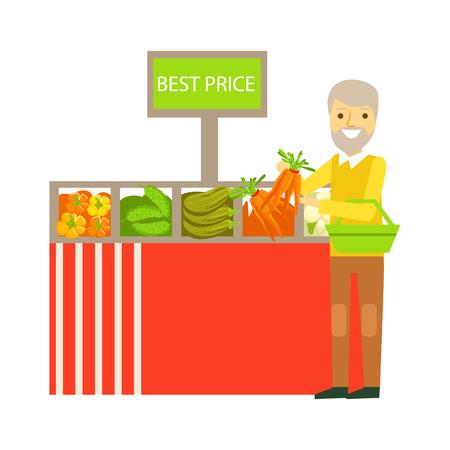 Een bejaarde die groenten met beste prijshangbord kiest in een supermarkt. Winkelen in de supermarkt, supermarkt of winkel. Kleurrijke karakter vector illustratie geïsoleerd op een witte achtergrond