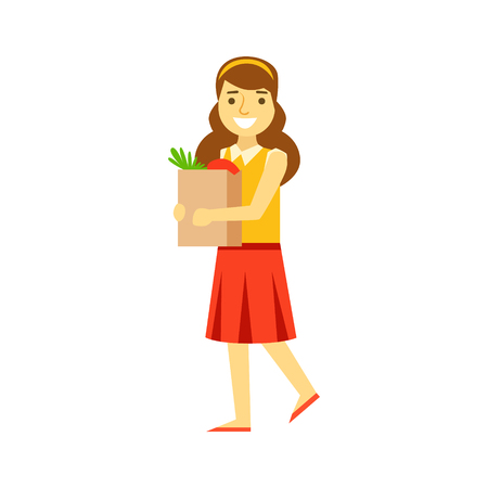 mujer en el supermercado: Smiling young woman carrying a brown shopping bag with healthy food. Shopping in grocery store, supermarket or retail shop. Colorful character vector Illustration isolated on a white background