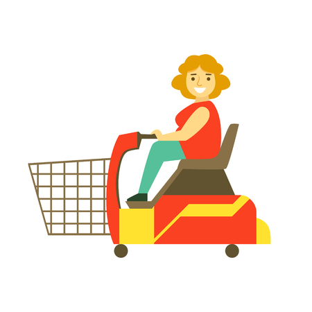 Handicapped shopping with mobility scooter, colorful character vector Illustration isolated on a white background