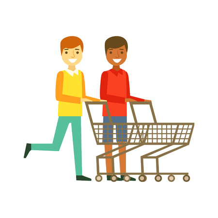 Two smiling men with an empty shopping carts, shopping in grocery store, supermarket or retail shop, Colorful character vector Illustration isolated on a white background