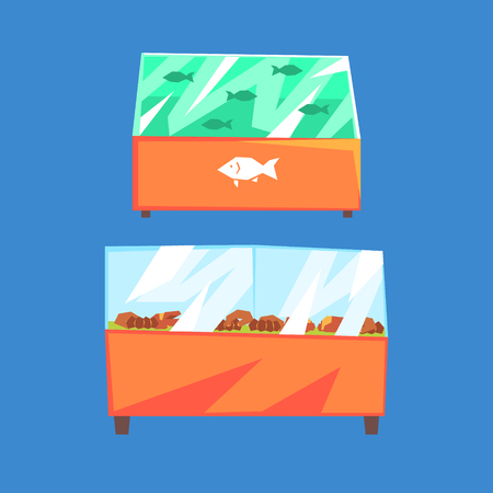 Fish products refrigerators, seafood in supermarket fridges, vector Illustration isolated on a white background