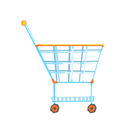Empty supermarket shopping cart with color wheels and handle, colorful vector Illustration isolated on a white background Illustration