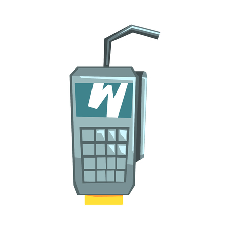 POS terminal confirms the payment by debit credit card, colorful vector Illustration isolated on a white background