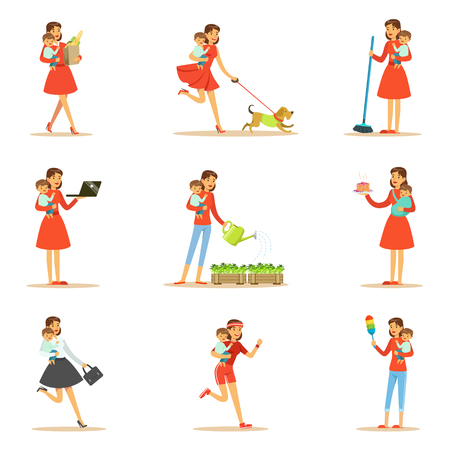 Mother Holding Baby In Arms Doing Different Activities Set Of Illustrations With Supermom And Her Duties. Young Mom With Kid Managing To Do Everything Collection Of Female Cartoon Character Life Scenes. Illustration
