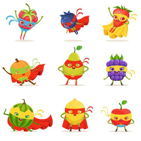 スーパー ヒーローの果物のマスクとマントのセットかわいい幼稚な漫画の衣装でヒトのキャラクター。明るい色で超大国ベクトル イラスト健康に良い新鮮な食べ物。 写真素材 - 77856212