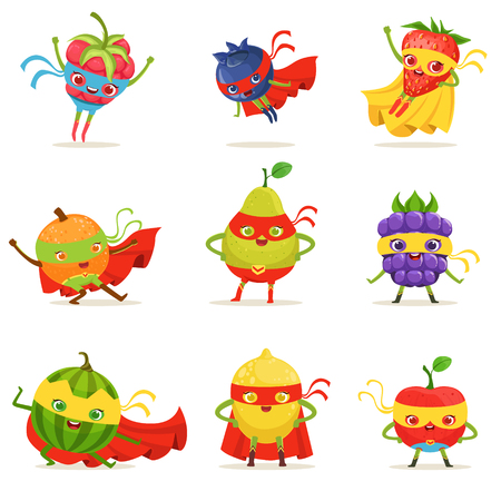 Superheld vruchten in maskers en Capes Set van schattige kinderachtig Cartoon gehumaniseerd tekens In kostuums. Gezond vers voedsel met superkrachten Vectorillustraties in heldere kleuren. Stock Illustratie