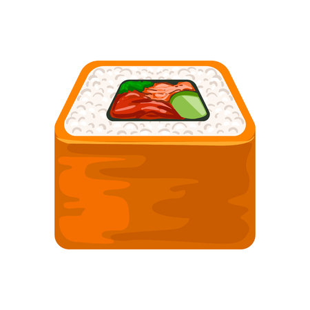 Seafood sushi roll with salmon, traditional Japanese cuisine. Colorful cartoon illustration Иллюстрация