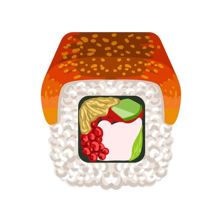 Rouleau de sushi à l'anguille fumée, cuisine traditionnelle japonaise. Illustration de dessin animé coloré Banque d'images - 77975346